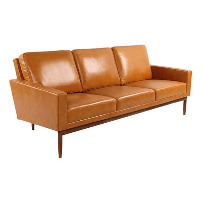 Stilt Danish Sofa Upholstery: Tan Aniline Leather, Leg Color: Walnut