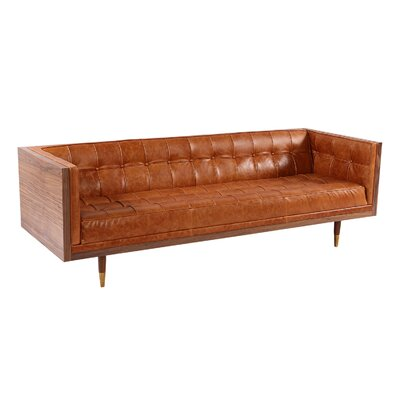 Carey Midcentury Modern Box Leather Sofa Upholstery: Tan