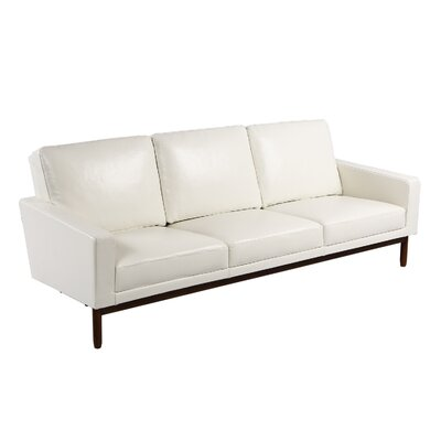 Stilt Danish Sofa Upholstery: White Aniline Leather, Leg Color: Walnut