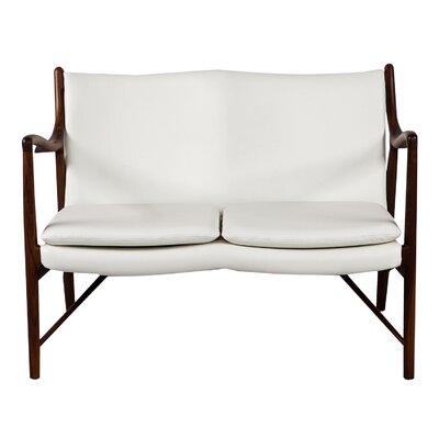 Rashad Mid-Century Modern Leather Loveseat Leg Finish: Walnut, Upholstery: White