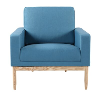 Ezra Armchair Body Fabric: Urban Surf Twill, Leg Color: Ash