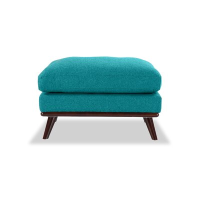 Luther Mid-Century Modern Ottoman Body Fabric: Turquoise Wool