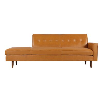 Mickey Mid-Century Modern Classic Sofa Sectional Body Fabric: Tan Aniline Leather, Leg Color: Brown