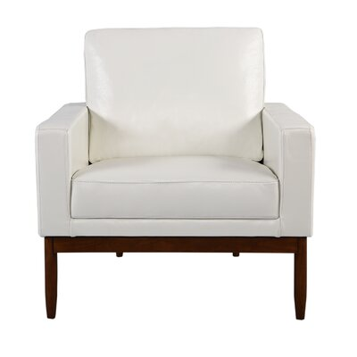 Ezra Armchair Upholstery: White Aniline Leather, Leg Finish: Walnut