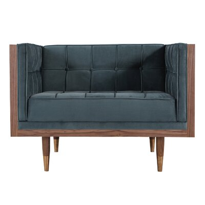 Carey Mid-century Modern Box Armchair Body Fabric: Neptuine Twill, Leg Color: Walnut/Gold