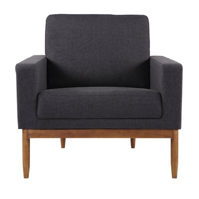 Ezra Armchair Upholstery: Urban Ink Twill, Leg Finish: Walnut