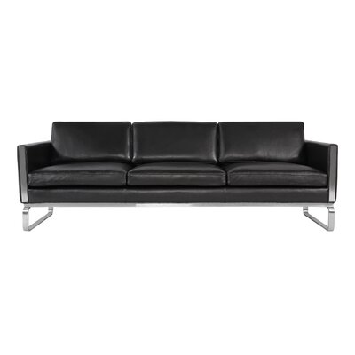 Yunior Mid-century Modern Genuine Leather Sofa Upholstery: Black Aniline Leather