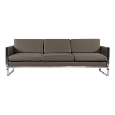 Yunior Mid-century Modern Genuine Leather Sofa Upholstery: Gray Aniline Leather