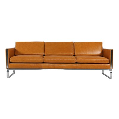 Yunior Mid-century Modern Genuine Leather Sofa Upholstery: Tan Aniline Leather
