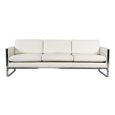 Yunior Mid-century Modern Genuine Leather Sofa Upholstery: White Aniline Leather