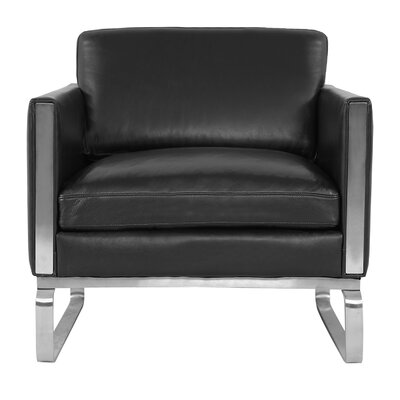 Yunior Mid-century Armchair Upholstery: Black Aniline Leather
