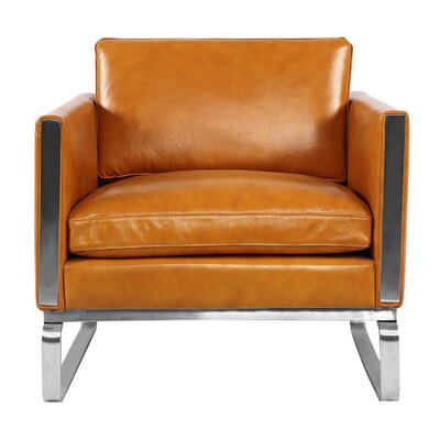 Yunior Mid-century Armchair Upholstery: Tan Aniline Leather