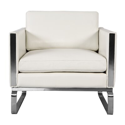 Yunior Mid-century Armchair Upholstery: White Aniline Leather