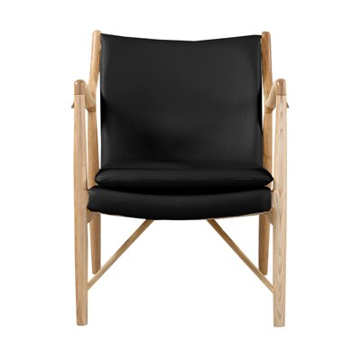 Rashad Mid-Century Modern Armchair Upholstery: Black Italian Leather/Natural