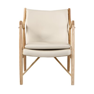 Rashad Mid-Century Modern Armchair Upholstery: Cream Italian Leather/Natural