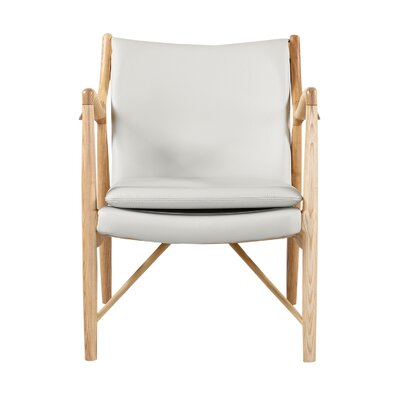 Rashad Mid-Century Modern Armchair Upholstery: White Italian Leather/Natural