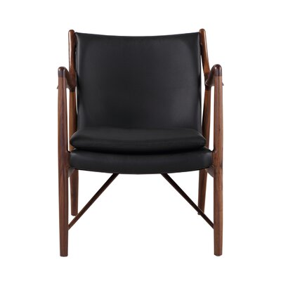 Rashad Mid-Century Modern Armchair Upholstery: Black Italian Leather/Walnut