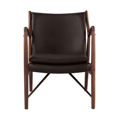 Rashad Mid-Century Modern Armchair Upholstery: Brown Italian Leather/Walnut