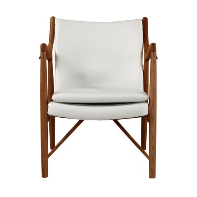 Rashad Mid-Century Modern Armchair Upholstery: White Italian Leather/Walnut