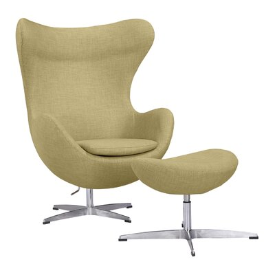 Deniela Swivel Lounge Chair and Ottoman Upholstery: Lemon Grass