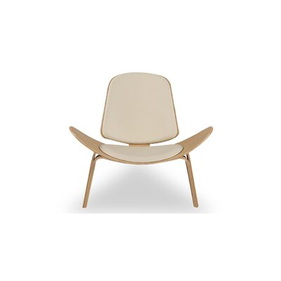 Plywood Modern Lounge Chair Upholstery: Cream, Finish: Oak