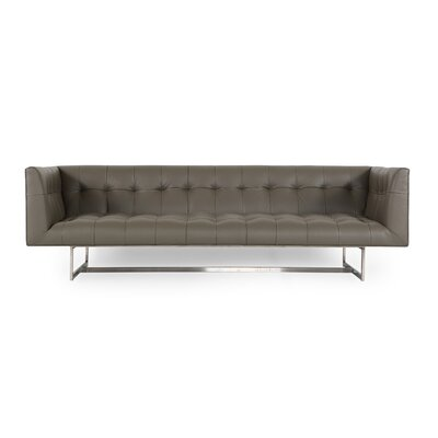 Shaner Mid Century Modern Leather Chesterfield Sofa Upholstery: Gray Aniline