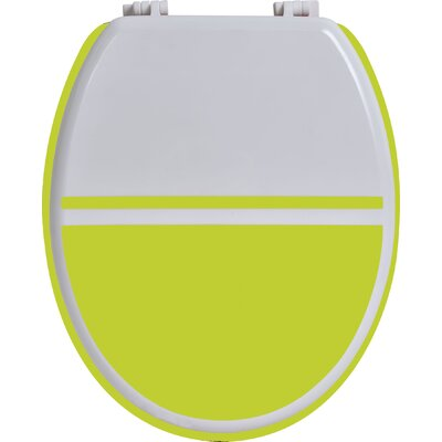 Elongated Toilet Seat Color: White / Lime Green