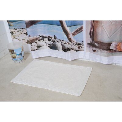 Velvet Border Bath Rug Color: White