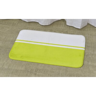 Printed Bath Rug Size: 17 x 29.5, Color: White / Lime Green