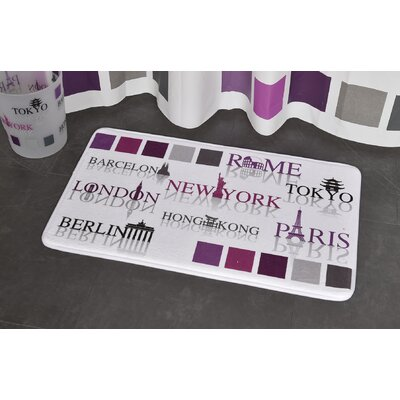 World Capitals Printed Bath Rug