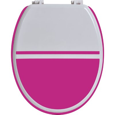 Elongated Toilet Seat Color: White / Fuchsia