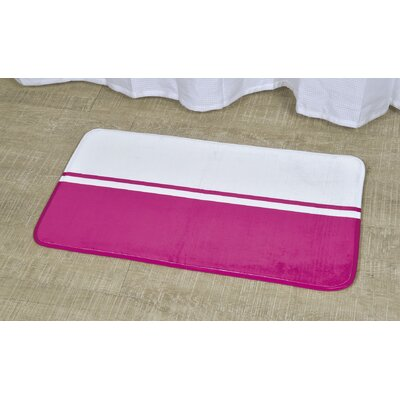 Printed Bath Rug Size: 17 x 29.5, Color: White / Fuchsia