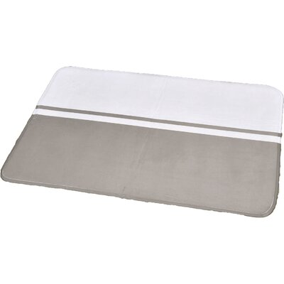 Printed Bath Rug Size: 23.62 x 35.43, Color: White / Taupe