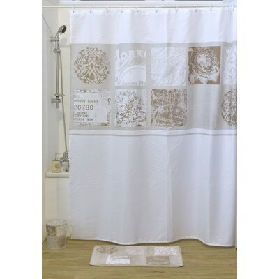 Paris Romance Printed Shower Curtain Color: White