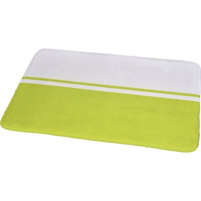 Printed Bath Rug Size: 23.62 x 35.43, Color: White / Lime Green