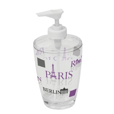 World Capitals Clear Acrylic Printed Bathroom Soap and Lotion Dispenser