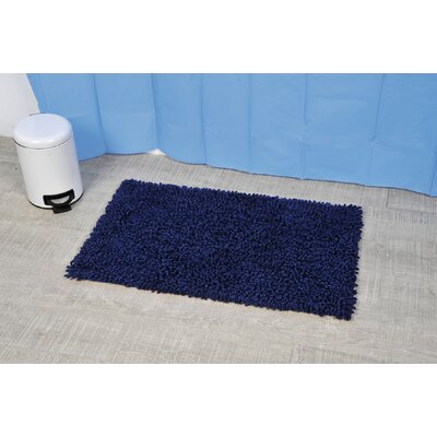 Soft Shaggy Loop Bath Rug Color: Navy Blue