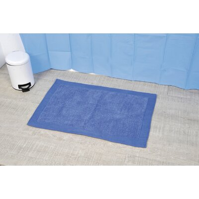 Velvet Border Bath Rug Color: Blue