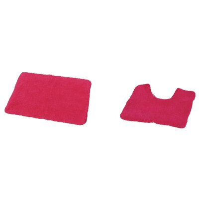 Bath Mat and Toilet Contour Mat Set Color: Fuchsia