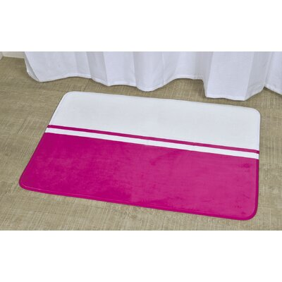 Printed Bath Rug Size: 23.62 x 35.43, Color: White / Fuchsia