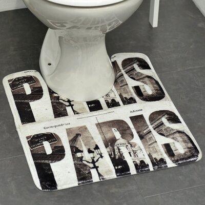 Cafe Paris Printed Microfiber Bath Toilet Contour Rug Mat