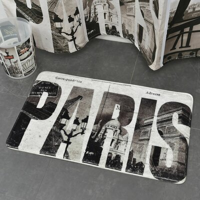 Cafe Paris Printed Microfiber Mat Bath Rug
