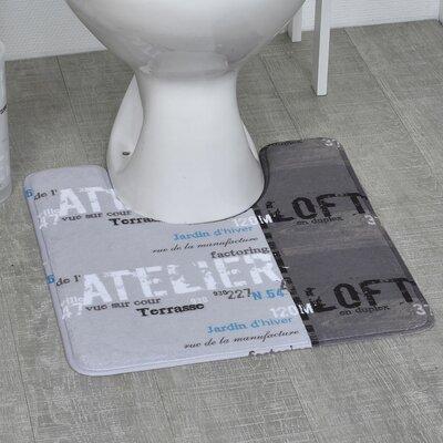 Atelier Loft Printed Microfiber Bath Toilet Contour Rug Mat