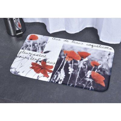 Poppy Printed Microfiber Mat Bath Rug
