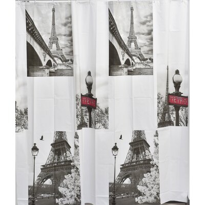 Paris City Bath Printed Peva Liner Shower Curtain