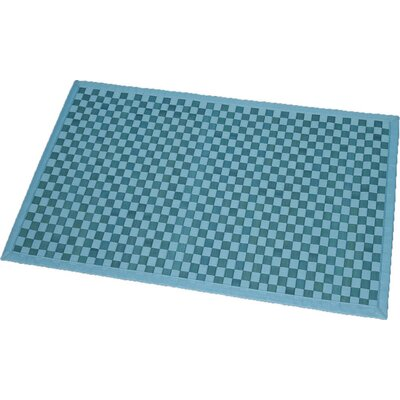 Cross Twill Checkerboard Bamboo Bath Rug Color: Turquoise Blue