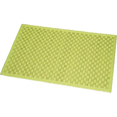 Cross Twill Checkerboard Bamboo Bath Rug Color: Lime Green