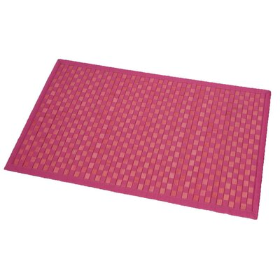 Cross Twill Checkerboard Bamboo Bath Rug Color: Pink