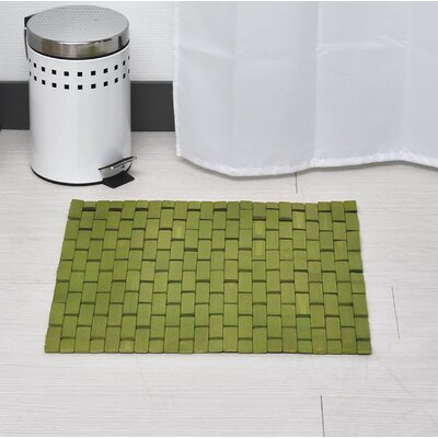 Bamboo Slats Roll-Up Foldable Bath Rug Color: Lime Green