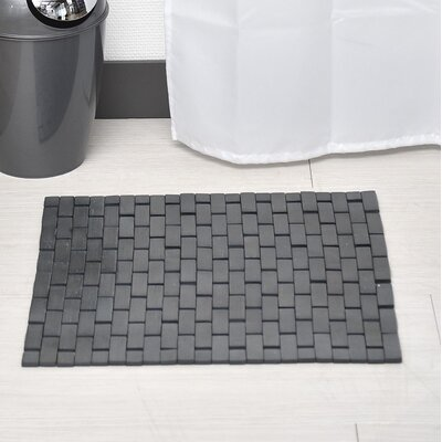 Bamboo Slats Roll-Up Foldable Bath Rug Color: Dark Gray